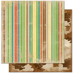 Bo Bunny Press - Roughin' It Collection - 12 x 12 Double Sided Paper - Roughin' It Stripe, BRAND NEW