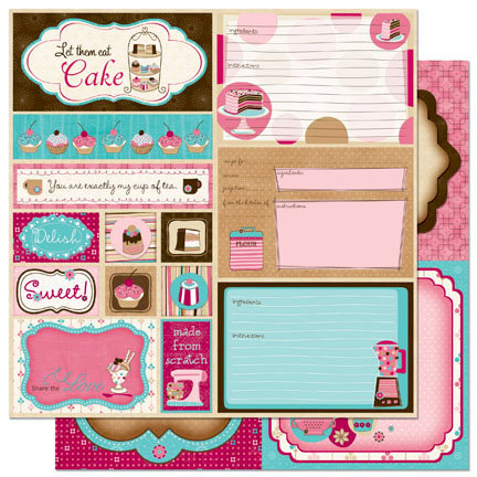 Bo Bunny Press - Sweet Tooth Collection - 12 x 12 Double Sided Paper - Cut Outs
