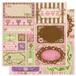 Bo Bunny Press - Smoochable Collection - 12 x 12 Double Sided Paper - Cut Outs