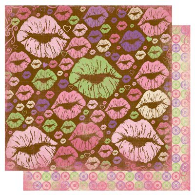 Bo Bunny - Smoochable Collection - 12 x 12 Double Sided Paper - Hot Lips