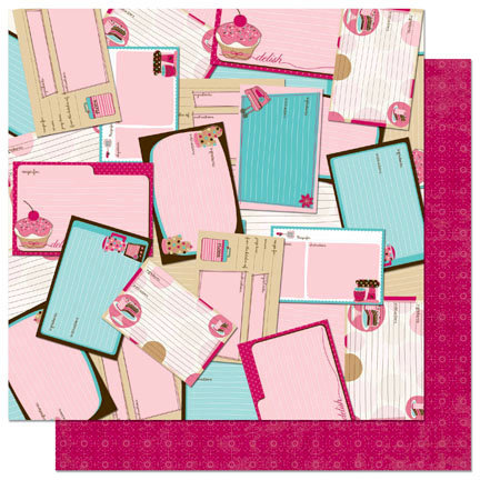 Bo Bunny - Sweet Tooth Collection - 12 x 12 Double Sided Paper - Recipes