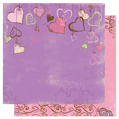 Bo Bunny - Smoochable Collection - 12 x 12 Double Sided Paper - Heart Strings