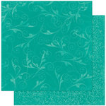 Bo Bunny Press - Double Dot Designs Collection - 12 x 12 Double Sided Paper - Flourish - Turquoise