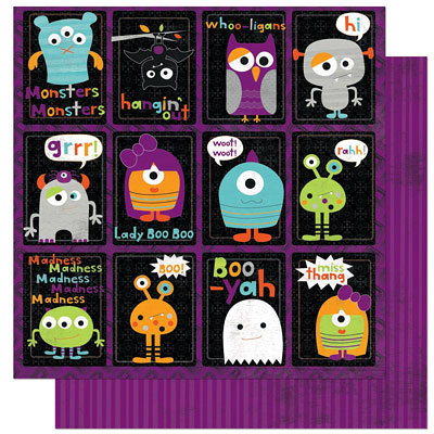 Bo Bunny Press - Whoo-ligans Collection - Halloween - 12 x 12 Double Sided Paper - Whoo-ligans Monsters