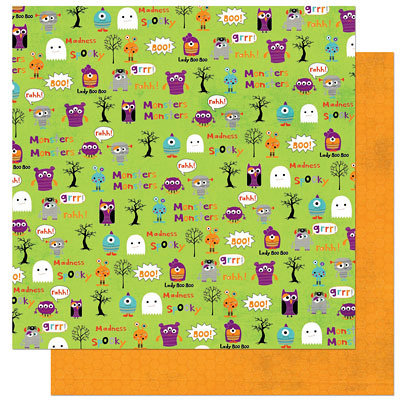 Bo Bunny Press - Whoo-ligans Collection - Halloween - 12 x 12 Double Sided Paper - Whoo-ligans Rahh, CLEARANCE