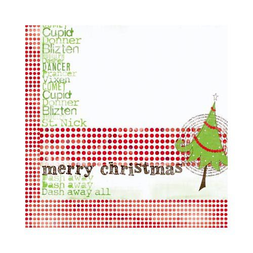 Bo Bunny - Mistletoe Collection - Christmas - 12 x 12 Double Sided Paper - Mistletoe