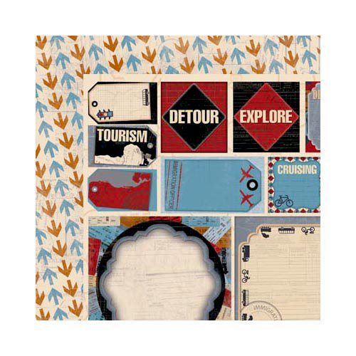 Bo Bunny - Detour Collection - 12 x 12 Double Sided Paper - Arrows