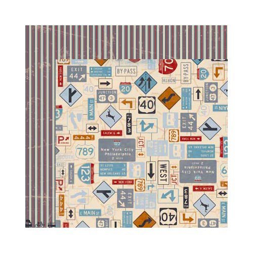 Bo Bunny - Detour Collection - 12 x 12 Double Sided Paper - Recalculating