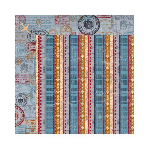 Bo Bunny - Detour Collection - 12 x 12 Double Sided Paper - Stripe