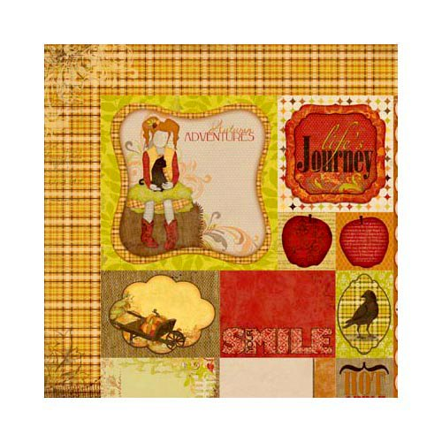 Bo Bunny - Apple Cider Collection - 12 x 12 Double Sided Paper - Journey