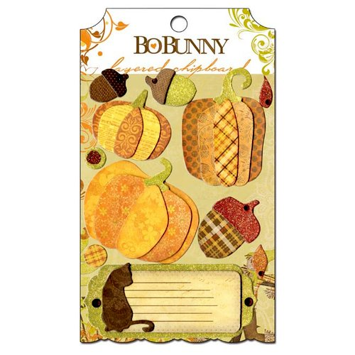 Bo Bunny Press - Apple Cider Collection - Layered Chipboard Stickers with Glitter and Jewel Accents