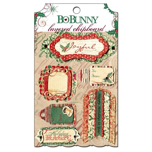 Bo Bunny - Rejoice Collection - Christmas - Layered Chipboard Stickers with Glitter and Jewel Accents
