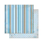 Bo Bunny - Powder Mountain Collection - 12 x 12 Double Sided Paper - Stripe