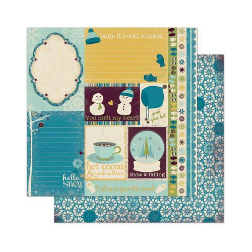 Bo Bunny - Snow Day Collection - 12 x 12 Double Sided Paper - Journal