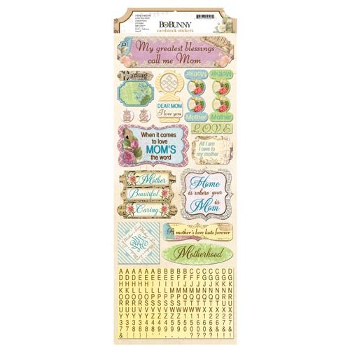Bo Bunny - C'est la Vie Collection - Cardstock Stickers - Love You Mom