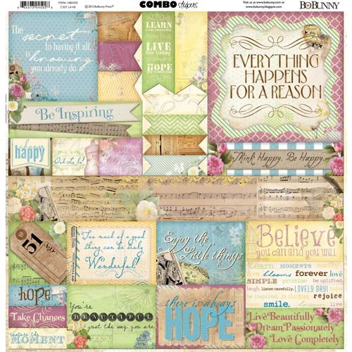 Bo Bunny - C'est la Vie Collection - 12 x 12 Cardstock Stickers - Combo
