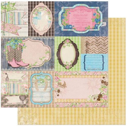 Bo Bunny - Prairie Chic Collection - 12 x 12 Double Sided Paper - Flea Market Finds