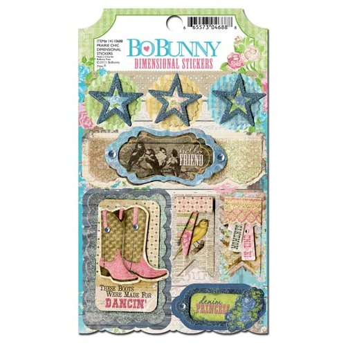 Bo Bunny - Prairie Chic Collection - 3 Dimensional Stickers with Glitter and Jewel Accents