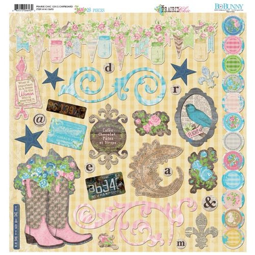 Bo Bunny - Prairie Chic Collection - 12 x 12 Chipboard Stickers