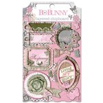 Bo Bunny - Isabella Collection - Layered Chipboard Stickers with Glitter and Jewel Accents