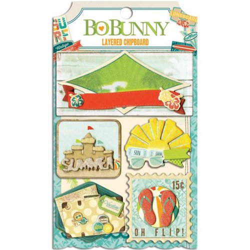 Bo Bunny - Key Lime Collection - Layered Chipboard Stickers with Glitter and Jewel Accents