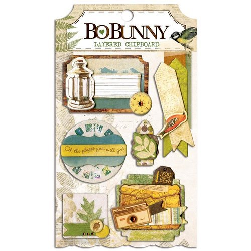 Bo Bunny - Trail Mix Collection - Layered Chipboard Stickers with Glitter and Jewel Accents