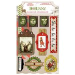 Bo Bunny - Christmas Collage Collection - Layered Chipboard Stickers with Glitter and Jewel Accents