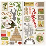 Bo Bunny - Christmas Collage Collection - Chipboard Stickers