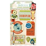 Bo Bunny - Souvenir Collection - Layered Chipboard Stickers with Glitter and Jewel Accents