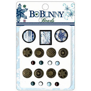 Bo Bunny Press - Midnight Frost Collection - Christmas - Brads - Midnight Frost, BRAND NEW