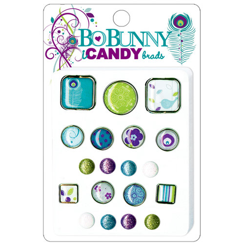 Bo Bunny Press - Peacock Lane Collection - I Candy Brads - Peacock Lane