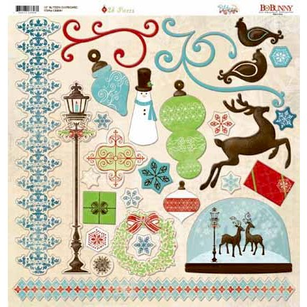 Bo Bunny - Blitzen Collection - Christmas - 12 x 12 Chipboard Stickers