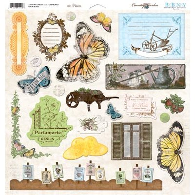Bo Bunny - Country Garden Collection - 12 x 12 Chipboard Stickers