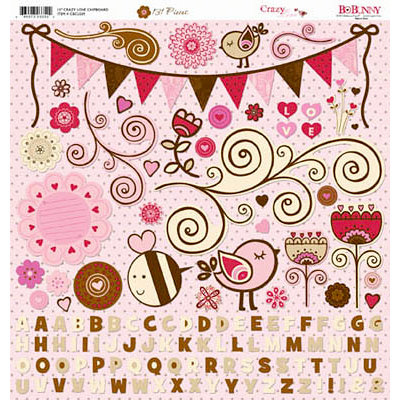 Bo Bunny Press - Crazy Love Collection - Valentine - 12 x 12 Chipboard Stickers - Crazy Love