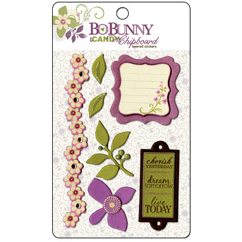 Bo Bunny Press - Jazmyne Collection - I Candy Chipboard - Layered Stickers with Glitter Accents, CLEARANCE