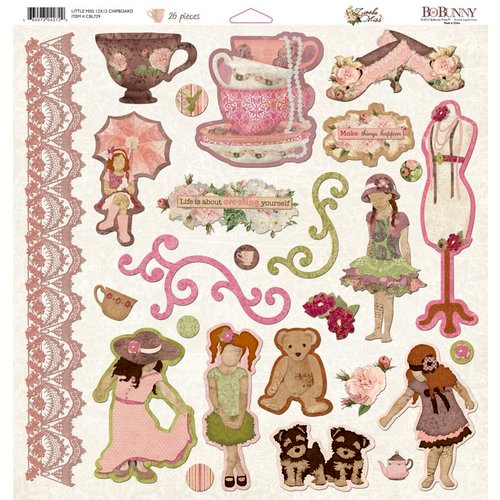 Bo Bunny - Little Miss Collection - 12 x 12 Chipboard Stickers