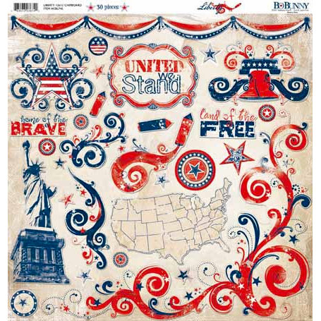 Bo Bunny Press - Liberty Collection - 12 x 12 Chipboard Stickers - Liberty