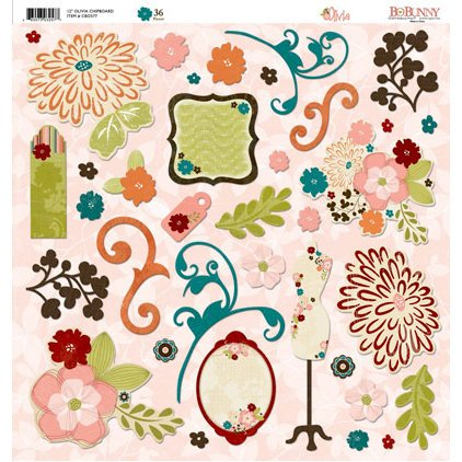 Bo Bunny Press - Olivia Collection - 12 x 12 Chipboard Stickers - Olivia