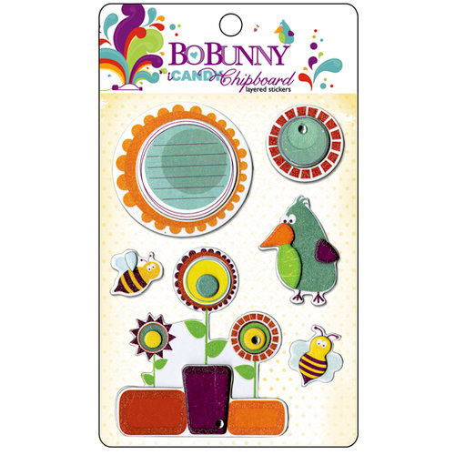 Bo Bunny Press - Sun Kissed Collection - I Candy Chipboard - Layered Stickers with Glitter and Jewel Accents, CLEARANCE