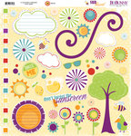 Bo Bunny Press - Sun Kissed Collection - 12 x 12 Chipboard Stickers - Sun Kissed