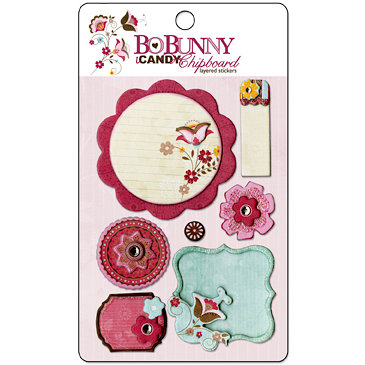Bo Bunny Press - Sophie Collection - I Candy Chipboard - Layered Stickers with Glitter and Jewel Accents, BRAND NEW