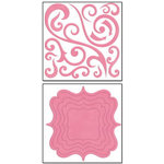 Bo Bunny Press - Chunky Charms Collection - Chipboard Stickers - Swirls and Brackets - Blush, CLEARANCE