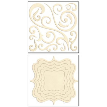 Bo Bunny Press - Chunky Charms Collection - Chipboard Stickers - Swirls and Brackets - Chiffon, CLEARANCE