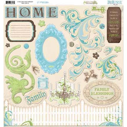 Bo Bunny - Welcome Home Collection - 12 x 12 Chipboard Stickers