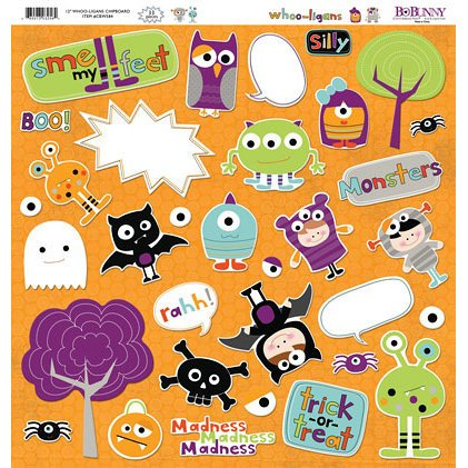 Bo Bunny Press - Whoo-ligans Collection - Halloween - 12 x 12 Chipboard Stickers - Whoo-ligans