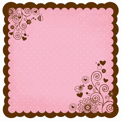 Bo Bunny - Crazy Love Collection - Valentine - 12 x 12 Die Cut Paper - Crazy Love Muffin
