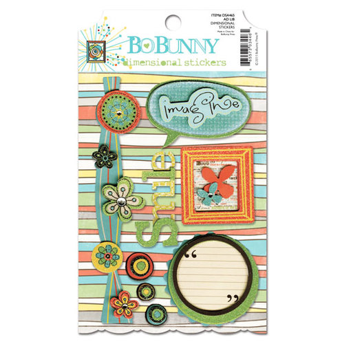 Bo Bunny - Ad Lib Collection - 3 Dimensional Stickers with Glitter and Jewel Accents