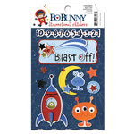 Bo Bunny Press - Blast Off Collection - 3 Dimensional Stickers with Glitter and Jewel Accents
