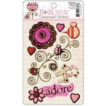 Bo Bunny Press - Crazy Love Collection - Valentine - Layered Stickers with Glitter and Jewel Accents