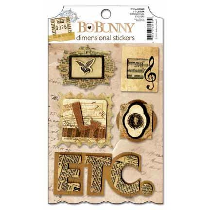 Bo Bunny - Et Cetera Collection - 3 Dimensional Stickers with Glitter and Jewel Accents